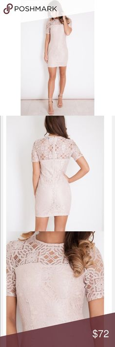 💕ASOS Lace Short Sleeve Shift Dress Blush💕 ✨🍾🎉Gorgeous well made dress with gorgeous color and flattering fit. Shipped from UK so can't return! Fits like a M. Labeled as a UK size 12. (In US size it's more of a 6-8.) Make an offer through the app! 💕🎉🙌🏻 ASOS Dresses Mini