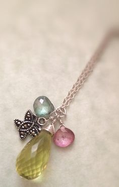 Faceted Lemon Quartz Pink and Green Mystic