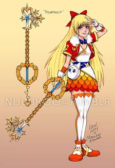 Sailor Moon x Kingdom Hearts/ Minako Aino/ Mina/ Sailor Venus Sailor Venus, Sailor Moons, Sailor Jupiter, Sailor Moon Fan Art, Sailor Neptune, Kingdom Hearts Crossover, Manga Anime, Gijinka Pokemon, Sailor Moon Kristall