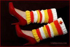 Candy Corn Crochet Leg Warmers | AllFreeCrochet.com
