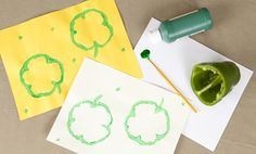 vegetable-based St Patty's Day crafts for kids St Patrick's Day Crafts, Easy Crafts For Kids, Diy For Kids, Diy And Crafts, Holiday Crafts, Holiday Ideas, St Pattys, St Patricks Day, Vegetable Crafts
