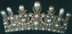 Empress Eugenie's Pearl and Diamond Diadem - 1853 - by Gabriel Lemonnier - made from jewels from the French Crown collection previously used by Empress Marie Louise - 212 pearls and 1998 diamonds -in silver - gift from Napoleon III for their 1853 marriage - to Thurn und Taxis - to the Louvre