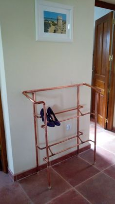 Items similar to Elegant Copper Pipe Shoe Display Rack Industrial Vintage Style on Etsy Copper Furniture, Pipe Furniture, Copper Tubing, Copper Pipes, Copper Lamps, Furniture Stores Nyc, Shoe Display, Pipe Shelves, Design Your Home