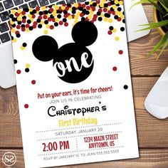 Mickey Mouse Birthday Invitation/Announcement by SuttonBySutton on Etsy https://www.etsy.com/listing/490679897/mickey-mouse-birthday