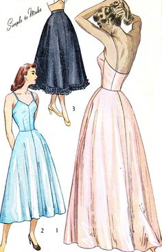 1940s Lingerie Pattern Simplicity 2423 Full Slip by paneenjerez, $16.00