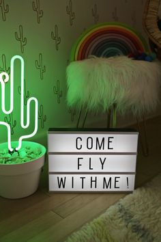 Elsie's Palm Springs Inspired Kiddo Room – A Beautiful Mess Neon Cactus, Cactus Light, Palm Springs, Decoration Tumblr, Kids Bedroom, Bedroom Decor, Licht Box, Family Room Design, Aesthetic Rooms