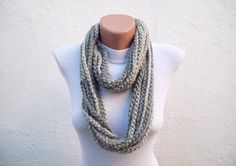 SALE %20 - Was 19 Now 15,2- Crochet Scarf infinity Grey  Multicolor Necklace Colorful Variegated Long Winter Accessories. $15.20, via Etsy.