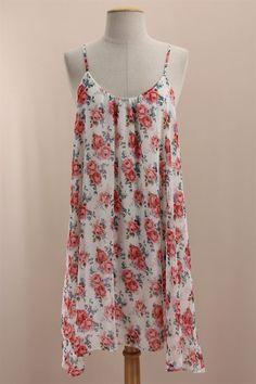 pink floral slip dress
