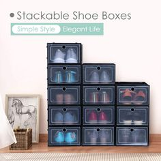 Storage Shoe Box Stackable 12 Pack Clear Plastic Shoe Box for Kids and Adults Too many shoes at home? messy and takes up space troubles? It's time to make a change! Storage shoe box,give you more storage space, shoes storage and space saving. Shoe Storage, Storage Spaces, Clear Plastic Shoe Boxes, King Do, Interior And Exterior, Interior Design, Valentines Gifts For Her, Make A Change, Kids Boxing