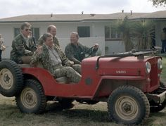 President Ronald Reagan, Michael Deaver and James Baker head out to a turkey hunt in a Jeep CJ-3B.