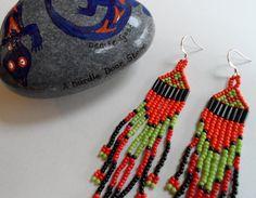 Long Native American beaded earrings from Beetledee Beading.  Hallmarked sterling silver fish-hook earwires.  £12.00  https://www.etsy.com/listing/119655944/native-american-earrings-with-925