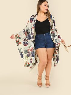Shop Plus Tropical Print Open Front Kimono online. SheIn offers Plus Tropical Print Open Front Kimono & more to fit your fashionable needs. Plus Size Summer Outfit, Cute Summer Outfits, Spring Outfits, Plus Size Outfits, Casual Outfits, Curvy Girl Outfits, Curvy Girl Fashion, Plus Size Fashion, Curvy Fashion Summer