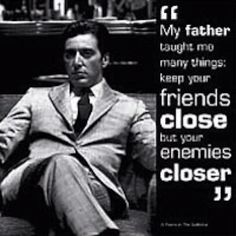 """""""My father taught me many things: keep your friends close but your enemies closer"""". This was indeed what my father taught me. As a child, we watched the Godfather together. I did not understand much of it, but I adored it because my father did. I still do, because of him. I love my dad. Every time I watch it, I remember my father and the things he taught me as a child. He told me these very lines over and over. I looked up to him and respected him as if he were a Don himself. He played his role as a dad well. The things I learned from him, however small, remain with me to this day.  When I was about 11, he gave me this very card. I still have it. It was from London, and it came empty with a silver envelope to go with it. Back then, I did not understand the value of this card and those words. I still don't. But soon, I will, and I will give the Don a call thanking him for everything."""
