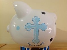 Personalized Large Baby Boy's Christening / Baptism Communion Cross Piggy Bank -Newborn, Baby Shower Gift Centerpieces by KUTEKUSTOMKREATIONS on Etsy