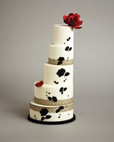 Spanish inspired red and black wedding cake. Created by Cakes by Konstadin (konstadin.com) for Summer 2012 issue of weddingbells