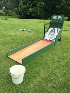 Our home made Skee Ball ready for hire.                                                                                                                                                                                 Más