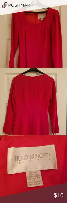 Red silk dress Lovely red silk dress. Size 2. Long sleeves with two slits on both sides of hem. Only worn once. Great for date night or special occasion. Hugo Buscati Dresses Long Sleeve