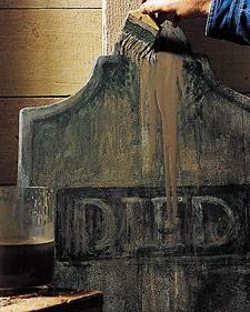 Tombstones from foam board a la Martha Stewart. http://www.marthastewart.com/921660/tombstone-yard-halloween-decorations#164484