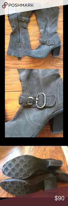Charcoal Gray Bare Traps Suede Boots These boots were only wore 3 or 4 times. They are beautiful charcoal gray suede. Heel measures 3 inches at highest point. These are very comfortable boots. Bare Traps Shoes Heeled Boots