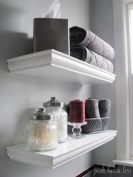 Bathroom Floating Shelves would be ideal for storage space in my tiny bathroom.