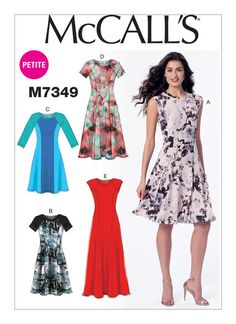 M7349 Misses'/Miss Petite Sleeveless or Raglan Sleeve, Fit and Flare Dresses Spring 2016