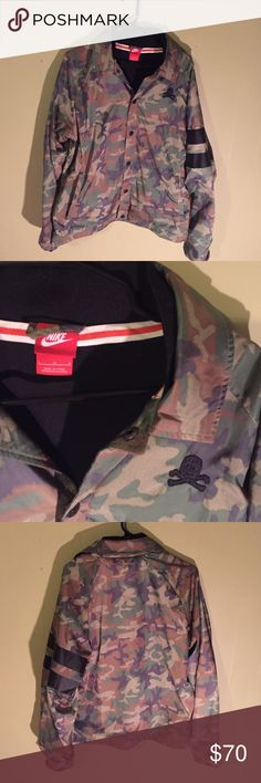 Camo Nike jacket Nice camo Nike jacket  black football helmet with cross bones logo  the buttons have a BB logo on them and they say ferocity notoriety loyalty Nike Jackets & Coats Lightweight & Shirt Jackets