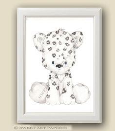 Baby Snow Leopard  Safari Nursery Art  Nursery by SweetArtPaperie