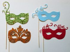 Masks for photobooth props. I like the basic shapes, but I'd make them in different colors & embellish them.