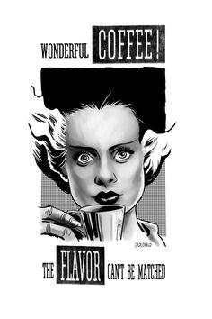 Bride of Frankenstein Loves Coffee by Nik Poliwko