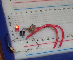 I will show you two circuits, one turns an LED off when theres no light, and the other turns an LED on when theres no light. for the first one you will need: -R1(LDR) 10K -R2 (1.2K) colour code: brown, red, red. -R3(10 ohms) colour code: brown black black. -T1 almost any low voltage NPN transistor will do. -L1 LED i used a red one. -potenciometer(optional) -jump wires -breadboard -2 1.5 volt bateries and pack for them for the second one you will need: -R1 (LDR) 10K -R4 (10K) colour code…