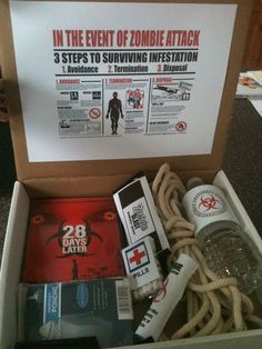 I just ordered this Zombie Survival Kit online for my classroom...you can never be too safe!