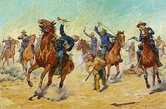 www.culture24.org.uk Compton Verney Offers An Artistic View Of The Wild West | Culture24 Shows a painting of members of the US Cavalry riding horses in a desert landscape. They are chasing a Native American warrior. Images may be subject to copyright. Google Search