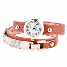 Women Vintage Synthetic Leather Strap Watch The Set Screw Rivets Bracelet Watch