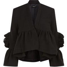 Rachel Comey Black Frill Peplum Frida Jacket (£470) ❤ liked on Polyvore featuring outerwear, jackets, fleece-lined jackets, cropped jacket, polka dot jacket, rachel comey and cotton lined jacket