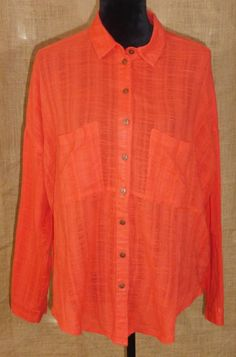 Free People women's blouse button down shirt split back M/Medium #FreePeople #Blouse