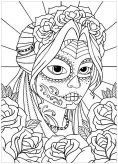 El Día de los Muertos - Coloring Pages for Adults Skull Coloring Pages, Free Adult Coloring Pages, Halloween Coloring Pages, Cute Coloring Pages, Mandala Coloring, Coloring Books, Colored Pencil Techniques, Sugar Skull Art, Mandala Art