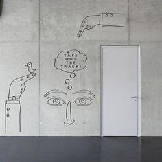 line art on walls