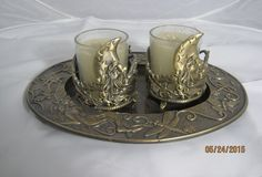 Gently Used Retired Kirks Folly Man in the Moon Candle Holder/Candle Set w/Tray #KirksFolly