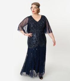 Plus Size Navy Blue Sequin & Beaded Angel Sleeve Bettina Long Flapper Dress Long Flapper Dress, Plus Size Flapper Dress, 1920s Evening Dress, Beaded Flapper Dress, Flapper Dresses, 1920s Flapper, Evening Gowns, Flapper Outfit, Flapper Fashion