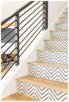 Best ideas for wood tile stairs staircases black white Staircase Makeover, Staircase Railings, Banisters, Staircase Ideas, White Staircase, Staircases, Black Stair Railing, Banister Ideas, Hand Railing