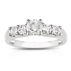 14k White Gold Diamond 5-Stone Engagement Ring (1 cttw, G-H Color, I1-I2 Clarity)