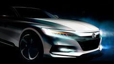 Honda will unveil the 2018 Honda Accord in Detroit on 14 July, Along with the announcement, the company has released the first teaser image of the car. Honda Accord Sport, 2018 Honda Accord, Honda Crv, Teaser, Mid Size Sedan, New Honda, Japan Cars, Cars And Coffee, New Engine