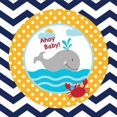 "Welcome a brand new baby boy with this adorable maritime design! The Ahoy Matey! Baby Shower Drink Napkin features a jazzy zigzag pattern in navy blue and white around the rim of the plate. A porthole view encircled in cheery yellow polka dots reveals a happy gray whale blowing his spout as he swims the deep blue sea. High in the sky a headline reads ""Ahoy Baby"" to welcome the sweet baby boy in a seafaring way. Combine the 5 inch square drink napkins with all the Ahoy Matey! party supplies…"