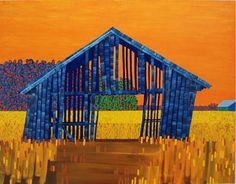 Elina Försti - Kauhavalainen lato öljy kankaalle, 140 x 180 cm, 2007 Finland, Painting & Drawing, Landscape Paintings, Contemporary Art, House Styles, Drawings, Watercolors, Buildings, Artists