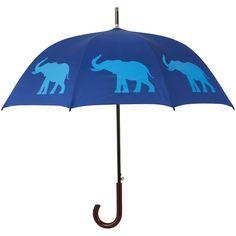 Amazon.com: The San Francisco Umbrella Company Walking Stick Rain... ($50) ❤ liked on Polyvore featuring accessories, umbrellas, elephant umbrella e blue umbrella