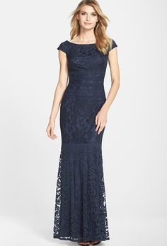Brides.com: . Textured lace mermaid gown, $298, Tadashi Shoji available at Nordstrom