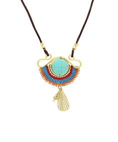 Another great find on #zulily! Gold & Turquoise Beaded Pendant Necklace by Sparkling Sage #zulilyfinds