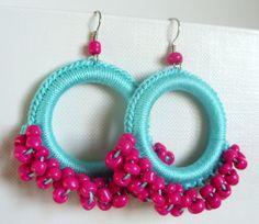 Mint earring Hoop earring Vivacious Fall color by Lona22004, $9.99
