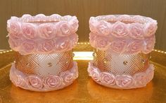 Shabby Chic Pink Glass Candleholders With Fabric Roses, Pearls And Crystals - SET OF 2 by DontForgetTheFlowers on Etsy Shabby Chic Candle, Shabby Chic Pink, Shabby Chic Decor, Wrapping Paper Bows, Fabric Roses, Pretty Lights, Candleholders, Hand Designs, Side Tables