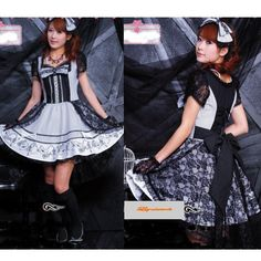 White Stripe Black Lace Short Sleeve Gothic Lolita Dress + Headpiece SKU-11402122